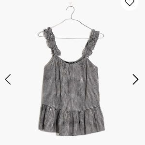 NWOT Ruffle-Strap Cami Top in Gingham MADEWELL